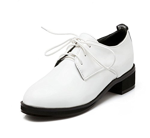 CHFSO Women's Elegant Pointed Toe Lace Up Patent Leather Flats Oxfords Shoes White 8.5 B(M) US ()