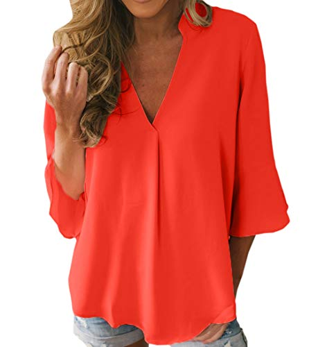 Printemps T Chemises Blouse 3 Shirts Manches Unie Orange Femmes Automne V Casual Hauts et Lache Tops 4 Fashion Couleur Col New Tees rwgpBrWqF