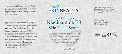 1 oz - NIACINAMIDE 5% B3 Face Serum Advanced Formula with 5% Niacinamide Vitamin B3 for Younger, Plumper, Firmer Skin. Organic & Natural Base Serum
