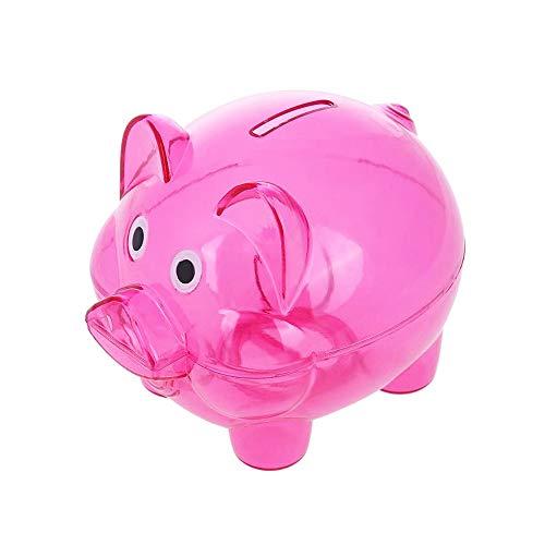 Money Box Pig Transparent Plastic Money Saving Box Case Coins Cartoon Pig Shaped Piggy Bank Cash Coin Money Box Pink Small Size ()