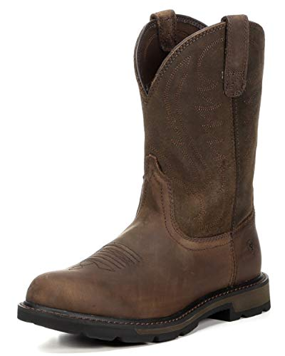 Ariat Men's Groundbreaker Pull-On Work Boot, Brown/Brown, 11 US