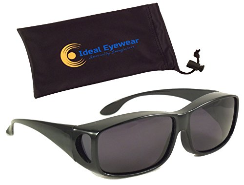 Sun Shield Fit Over Sunglasses with Polarized Lenses - Fit Over Prescription Glasses (Black Frame / Smoke Lens with - Regular Sunglasses Go Glasses That Over