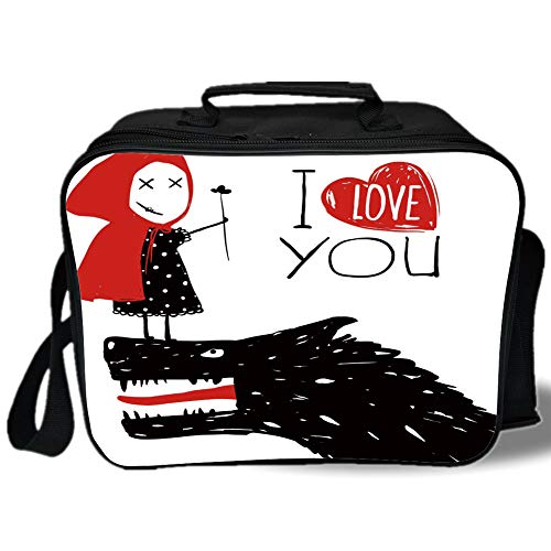 - Insulated Lunch Bag,Quirky Decor,Little Red Riding Hood Loves Bad Horrible Wolf Plot Twist Fairytale Art,Red Black White,for Work/School/Picnic, Grey