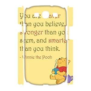 Diy Winnie the Pooh quote 3D Phone Case, DIY Hard Back Cover Case for Samsung Galaxy S3 I9300 Winnie the Pooh quote
