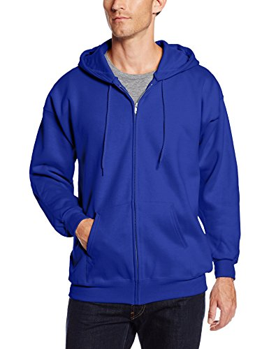 Hanes Men's Full Zip Ultimate Heavyweight Fleece Hoodie, Deep Royal, - Heavyweight Sweatshirt Hanes