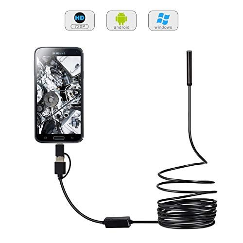 720P HD Endoscope Camera USB Borescope, 0.21inch Lens USB Endoscope Inspection Camera with 6 Adjustable LEDs for Android, Windows Computer & MAC--16.4ft/5M Cable