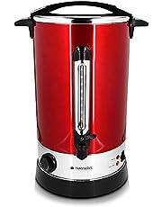 Navaris glühweinketel met temperatuurregelaar 20L - RVS glühweinkoker met tap - Warm water ketel - Thermostaat - Oververhittingsbeveiliging - Rood