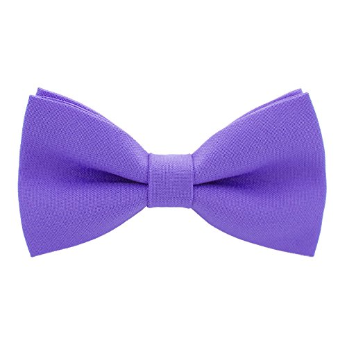 - Classic Pre-Tied Bow Tie Formal Solid Tuxedo, by Bow Tie House (Large, Purple)