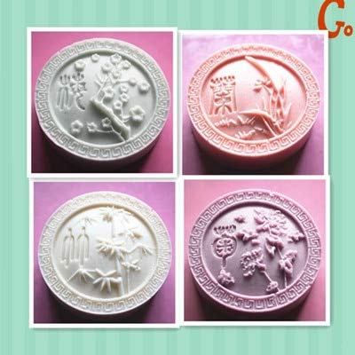 (Candle Mould - Chrysanthemum Patterns Quot Four Soap Mold Handmade Silicone Candle Mould - Orchid Vegetable Bear Thrones Turtle Jewelry Honeycomb Wings Mould Sphere Chocolates Tray Clay Mo)