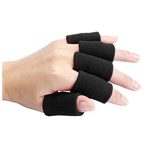 Finger Guard Sleeves - TOOGOO(R)Portable 10pcs Stretch Sports Basketball Finger Guard Support Sleeves Protector black by TOOGOO(R) (Image #1)