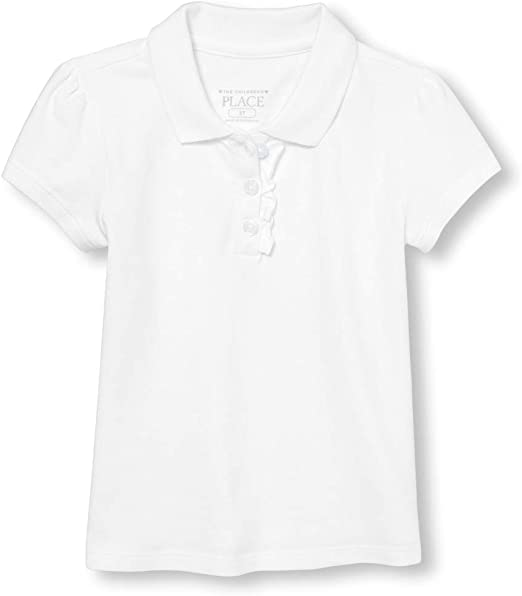 The Childrens Place Baby Girls Toddler Uniform Ruffle Pique Polo 3T White