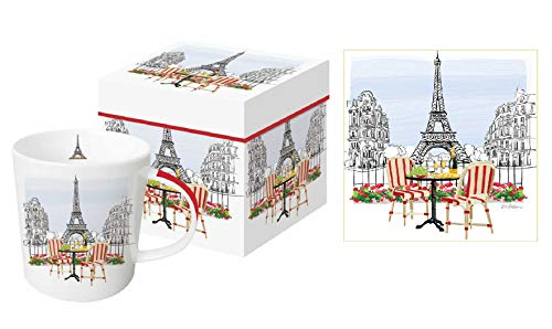 PPD 3 Piece Paris Bistro Coffee Mug, Gift Box and Matching Paper Napkins Bundle