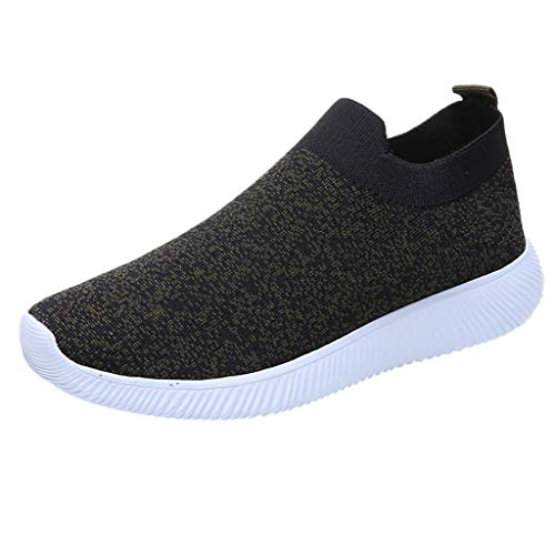 Sunhusing Ladies Flying Woven Gauze Mesh Stitching Breathable Soft Bottom Running Shoes Outdoor Sneakers Black