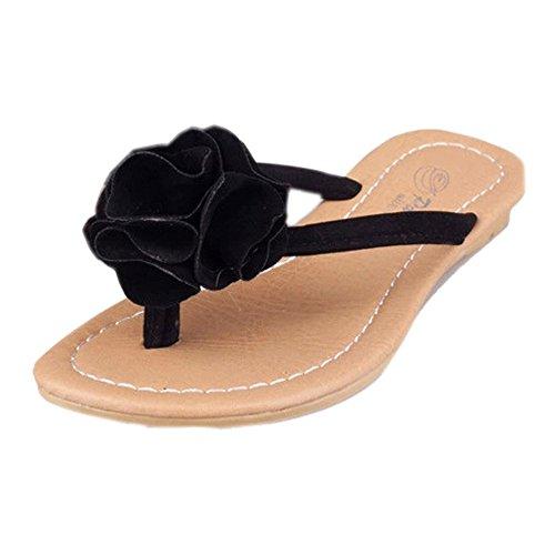 Sandalias de Mujer Bohemia, VENMO Zapatos Planos Flor Ocio Chanclas Zapatos de Playa al Aire Libre Negro