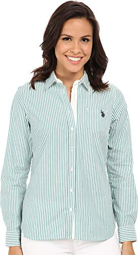 (U.S. Polo Assn. Women's Long Sleeve Vertical Stripe Shirt Tide Pool Shirt)