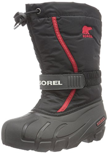 Sorel Youth Flurry-K Snow Boot, Black/Bright Red, 4 M US Big Kid
