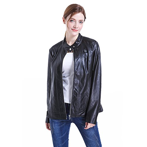 CLIMIX Slim Fit Women Heated Jacket PU Leather Jacket Kits With Battery (M) by CLIMIX (Image #2)