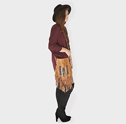 Bags Tan Leather Round Bohemian Fringe Boho Bag Real S Purse 448a1qxv