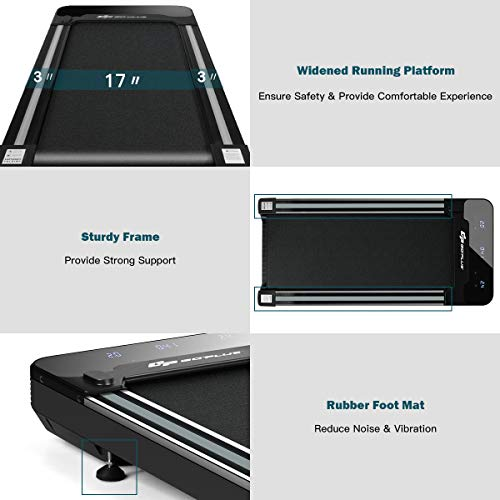 Goplus Under Desk Electric Treadmill, with Touchable LED Display and Wireless Remote Control, Built-in 3 Workout Modes…