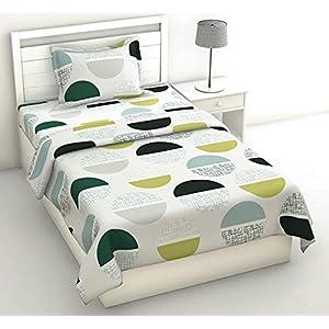 Loreto 144 TC 100% Cotton Single Bedsheet with 1 Pillow Cover, Multi Colour