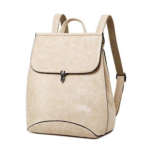 WINK KANGAROO Fashion Shoulder Bag Rucksack PU Leather Women Girls Ladies Backpack Travel bag (Beige 1) by WINK KANGAROO