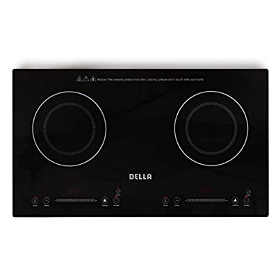 DELLA 048-GM-48250 2-Burner Electric Countertop Stove Induction Plate Portable Lightweight Cooker, Black, Small