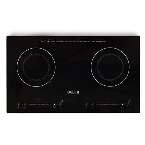 [DELLA 048-GM-48250 2-Burner Electric Countertop Stove Induction Plate Portable Lightweight Cooker, Black, Small] (Electric Top)