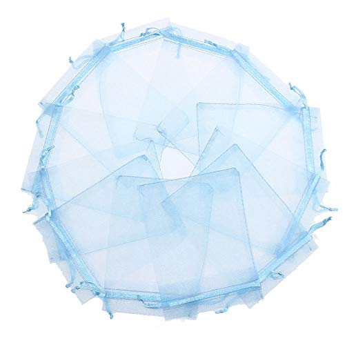 100PCS Blue Organza bags 5 x 7″ Drawstring Gift Bags, Baby Boy Shower Favor Bags, Jewelry Packing Bags