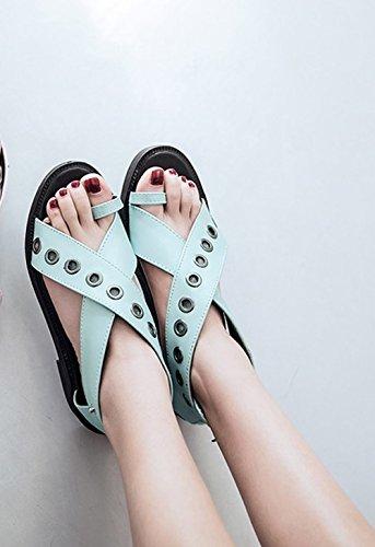 Sandali Blu Per Gli Appartamenti Comfort Comfort Casual Da Donna