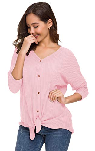 UGET Womens Long Sleeve V Neck Button Down Waffle Knit Tunic Blouse Tie Knot Henley Tops (Medium, Pink)