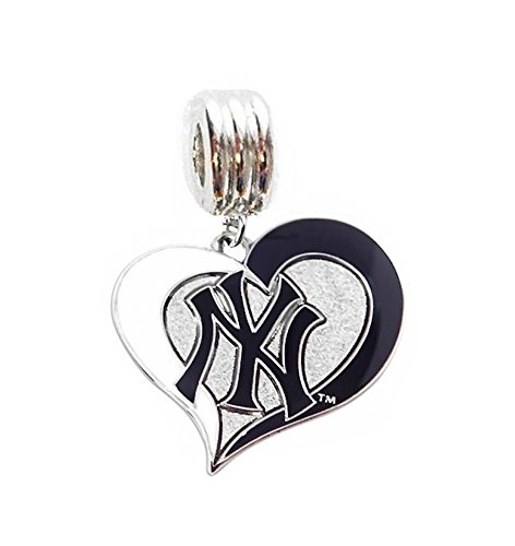 Yankees Heart - NY NEW YORK YANKEES BASEBALL HEART CHARM SLIDER PENDANT ADD TO YOUR NECKLACE EUROPEAN BRACELET DIY PROJECTS ETC.