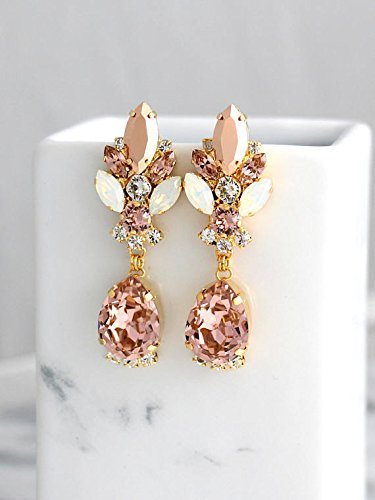 67c122ebf7376 Bridal Blush, Rose Gold and White Opal Chandelier Earrings, Swarovski  Crystal Bridesmaids Stud Earrings, Handmade Wedding Jewelry