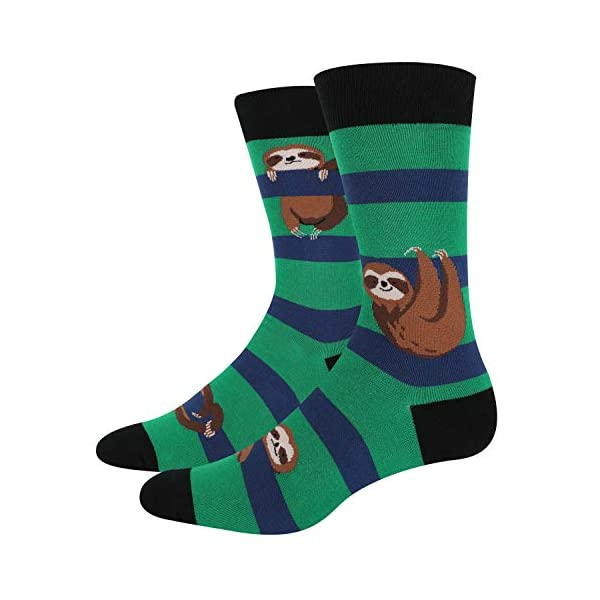 Happypop Men'S Flamingo Sloth Llama Crew Socks Novelty Funny Animal Cat Pattern -