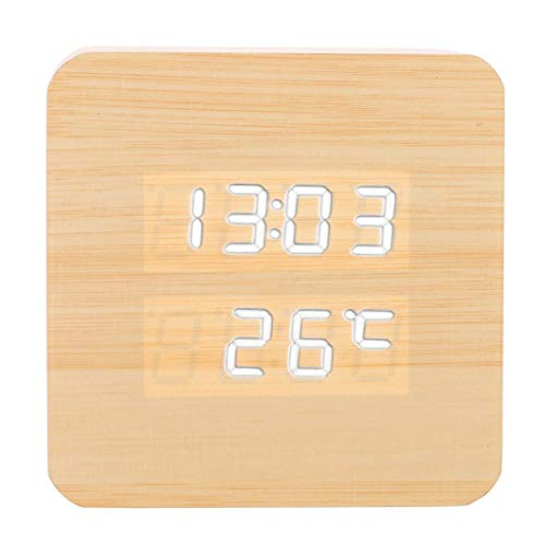 Cheap Sttech1 Portable Temperature Display Sounds Control LED Electronic Desktop Digital Creative Wooden Alarm Clock for Heavey Sleepers (E Bamboo Wood White Light)