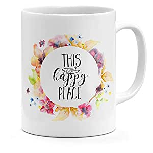 Loud Universe Ceramic This Is Our Happy Place Coffee Mug, White