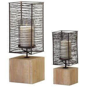 - Cyan lighting 04744 Vail - 7.5 Inch Large Candleholder, Raw Iron/Natural Wood Finish