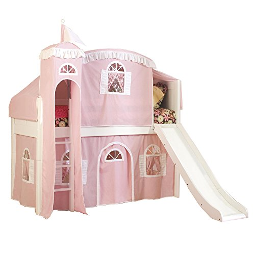 Bolton Furniture 9811500LT6PW Cottage Low Loft Castle Bed, White with Pink/White Top Tent, Bottom Playhouse Curtain, Tower and Slide