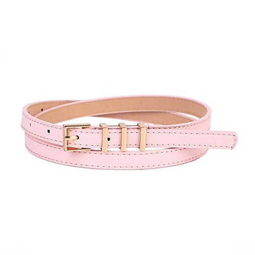 [Damara Womens Lady Square Metal Buckle Thin Leather Casual Belt,Light Pink] (Casual Square Buckle)