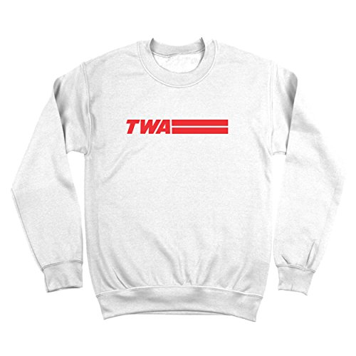 Funny Threads Outlet Retro TWA Airlines Old School Hip Cool Mens Sweatshirt Large White