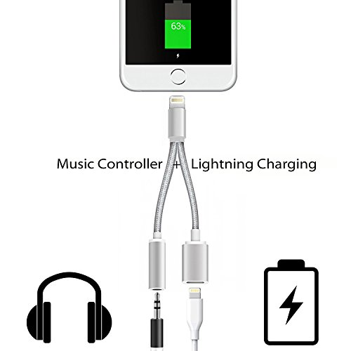 Price comparison product image Stouch Lightning to 3.5mm Audio Adapter for iPhone 7 and iPhone7 Plus (with Lightning Port Charging + 3.5 mm Port) Support IOS 10.3