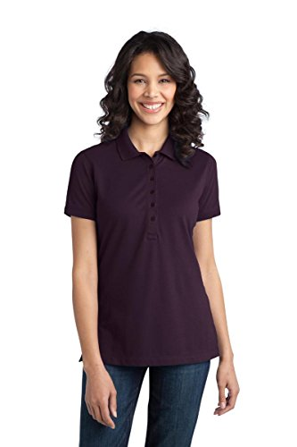 Shirt Authority Knit Port (Port Authority Women's Port Authority Ladies Stretch Pique M Aubergine Purple)