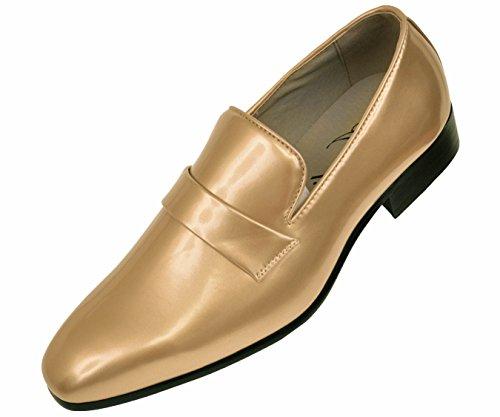 Men Gold Shoes (Amali Mens Classic Gold Metallic Patent Tuxedo Slip On Dress Shoe with Gold Patent Strap: Style 1082-035)