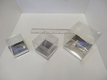 Caja de presentación clara caja de CUP CAKE favor Box acetato de caja con base de plata 6 cm transparente: Amazon.es: Hogar