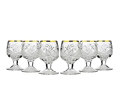 Neman WG5290G-X, 1.7 Oz. Crystal Cut Sherry Glasses with Short Stem, Classic Hand-Made Liqueur Cordial Glasses, Vodka Shot Glasses, Wedding Gift Drinkware, Set of 6