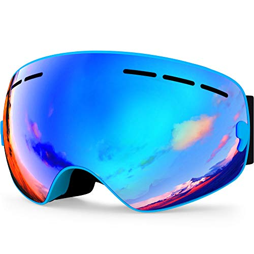 Zionor Lagopus X Mini Kids Snowmobile Snowboard Skate Ski Goggles with 100% UV Protection Anti-Fog Detachable Wide Angle Double Panoramic Lens for Youth ()