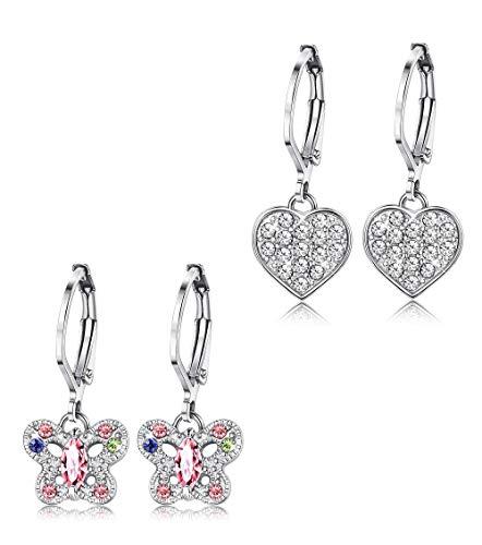 (ORAZIO Earrings for Girls Heart Butterfly Drop Dangle Earrings for Kids Baby Leverback)