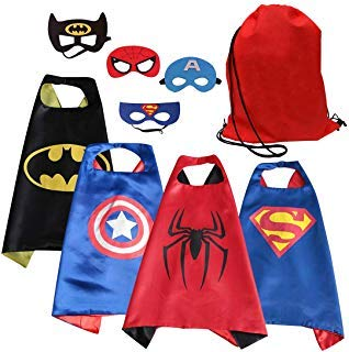 SPESS Comics Cartoon Hero Cape & Mask Costume Set for Toddlers (4pcs) ()