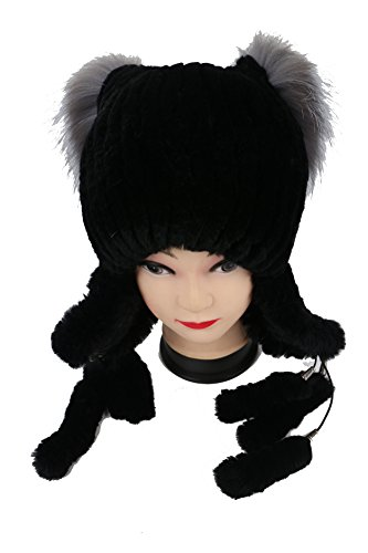 Ysting Womens Knit Rex Rabbit Fur Beanie Hat with Silver Fox Fur Top Natural Fur Hats Earmuff (C)