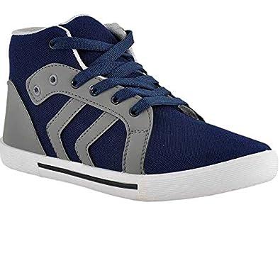 379a78335776 Joner Blue Grey Casual High Neck Shoes for Men (10 UK/India): Buy ...