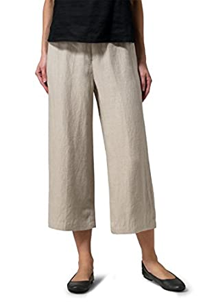 Vivid Linen Wide-Leg Cropped Pants at Amazon Women's Clothing store: